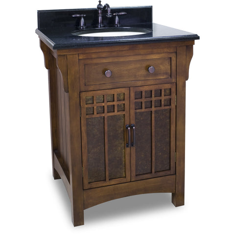 "Traditional 26"" Chestnut Finish Vanity Base With Black Granite Countertop - DecorativeResources.com"