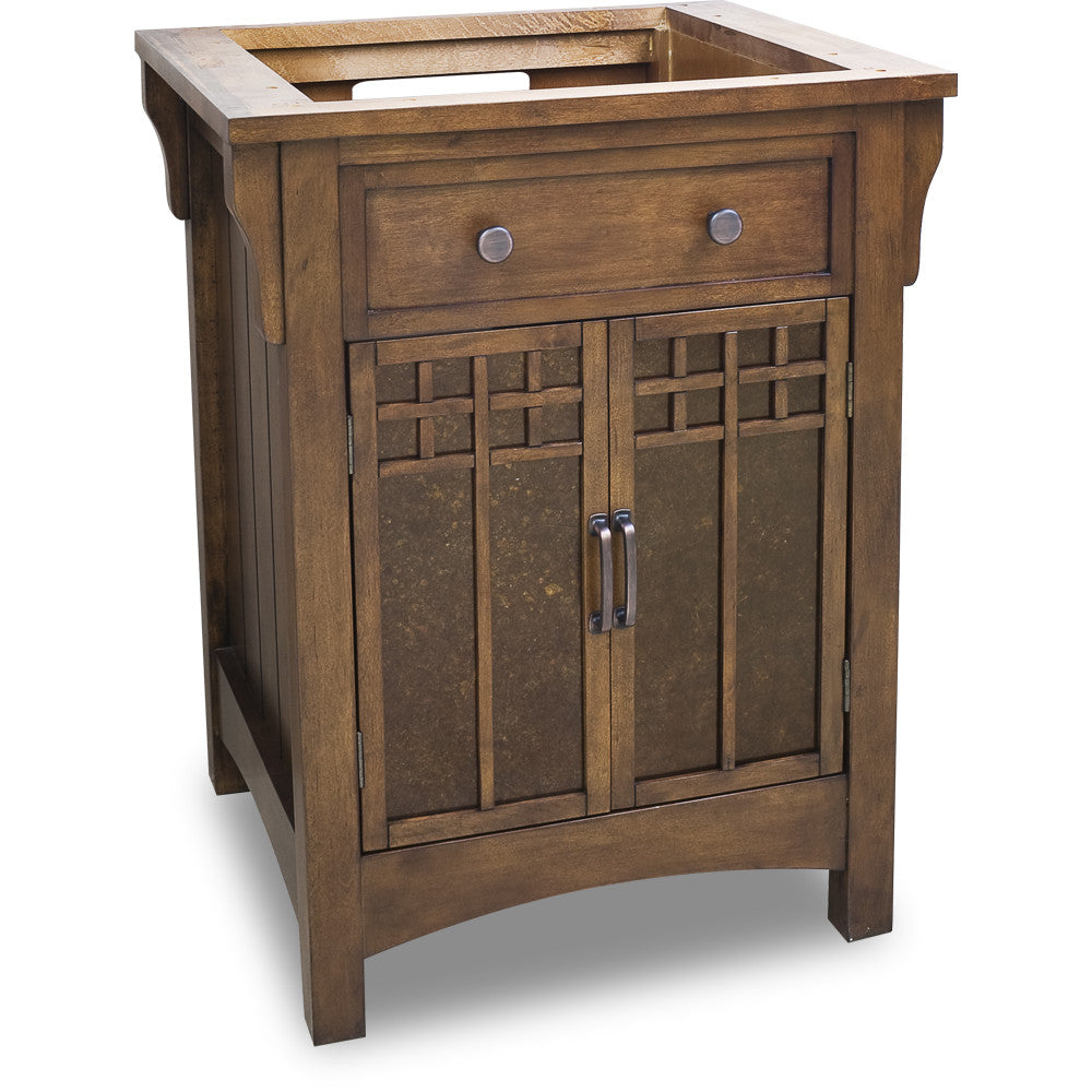"Traditional Chestnut Finish 26"" Vanity Base With Black Granite Countertop - DecorativeResources.com"