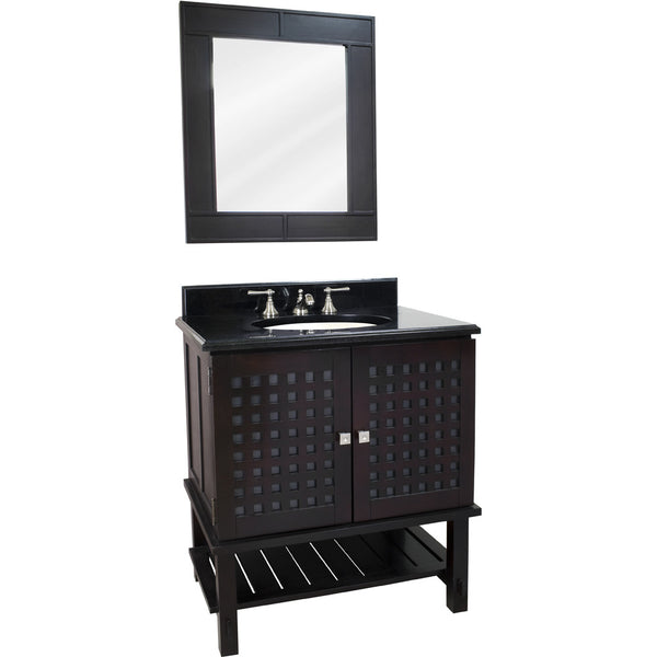 "Transitional 30"" Espresso Finish Vanity Base With Black Granite Countertop"