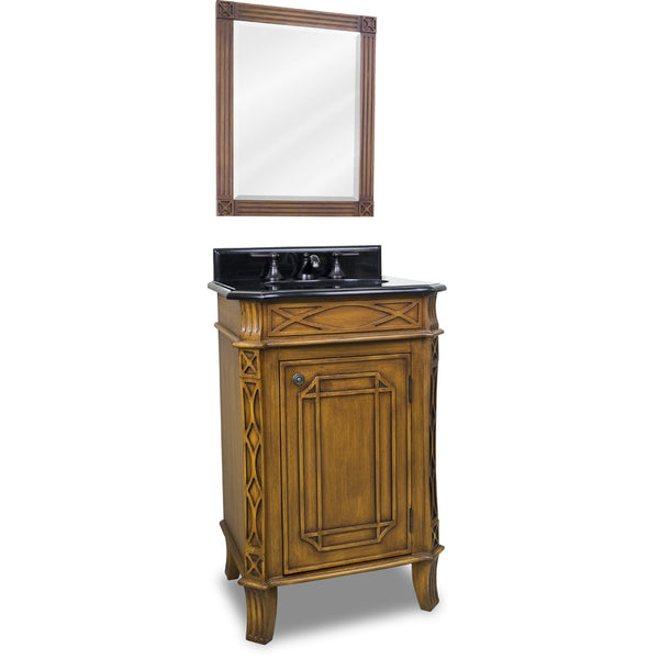 "Traditional Toffee Finish 24"" Vanity Base With Black Granite Countertop"