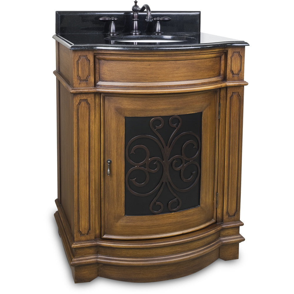 "Traditional 28"" Toffee Finish Vanity Base With Black Granite Countertop"