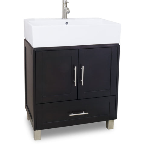 "Transitional Espresso Finish 30"" Vanity Base With White Porcelain Countertop"