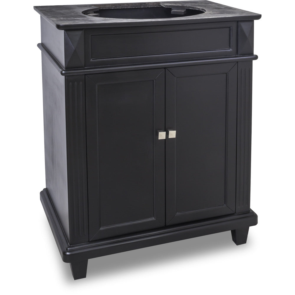 "Transitional Black Finish 30"" Vanity Base Without Countertop"