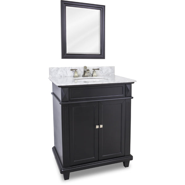"Transitional Black Finish 30"" Vanity Base With White Marble Countertop"