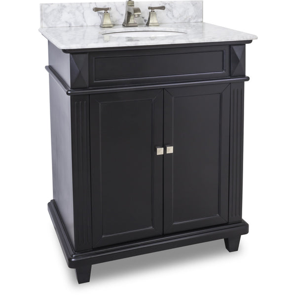 "Transitional Black Finish 30"" Vanity Base With White Marble Countertop - DecorativeResources.com"