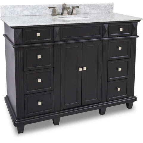 "Transitional Black Finish 48"" Vanity Base With White Marble Countertop - DecorativeResources.com"
