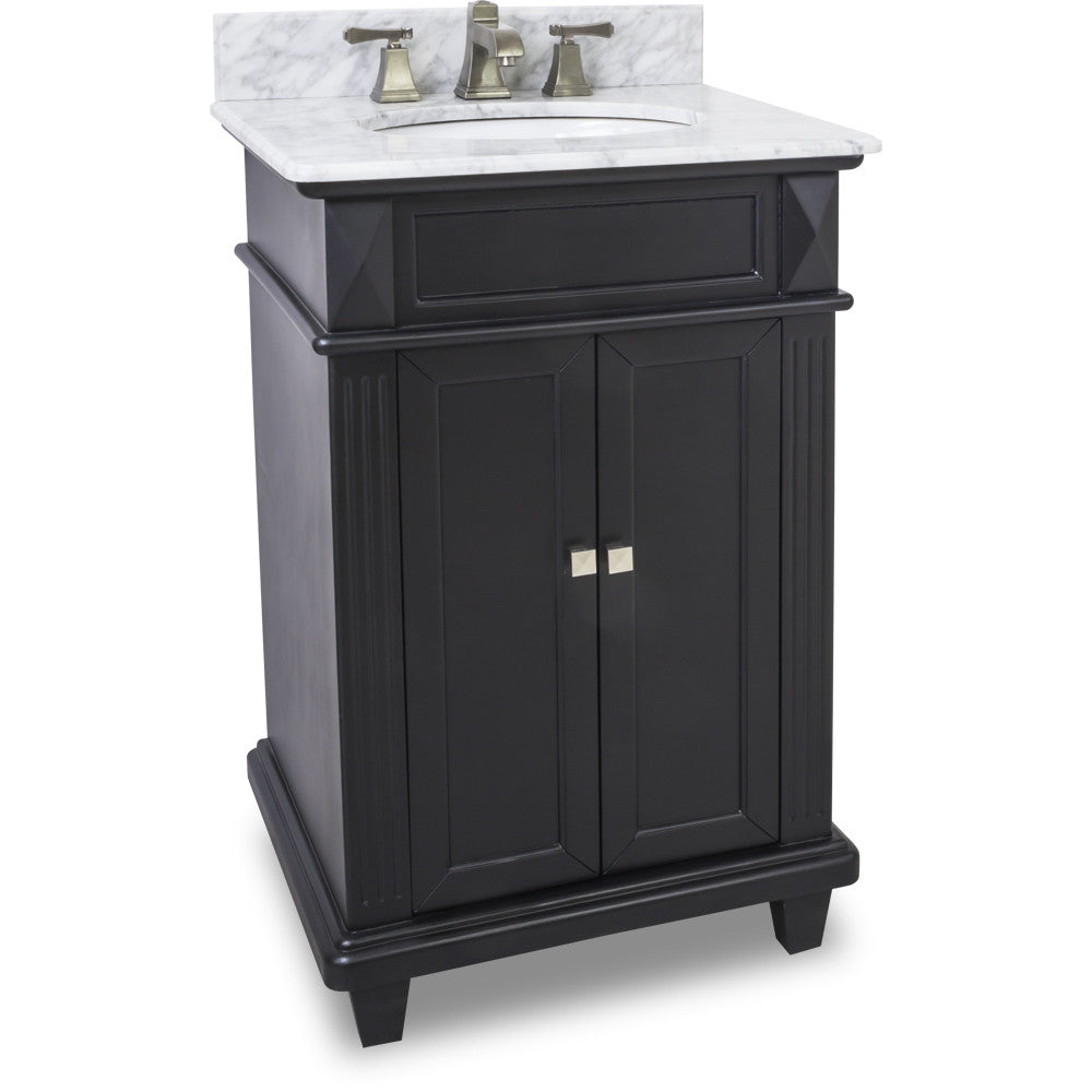 "Transitional Black Finish 24"" Vanity Base With White Marble Countertop - DecorativeResources.com"