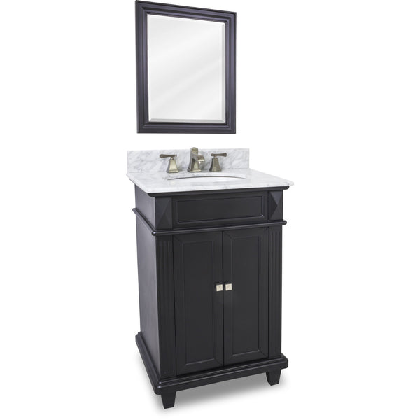"Transitional Black Finish 24"" Vanity Base With White Marble Countertop"