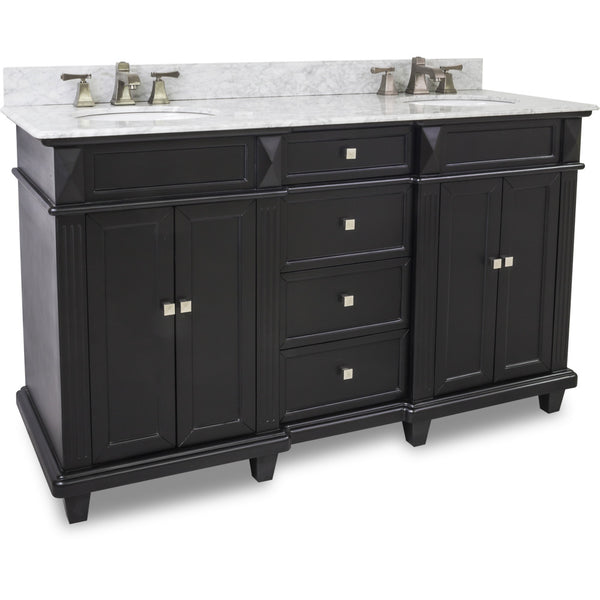 "Transitional Black Finish 60"" Vanity Base With White Marble Countertop"