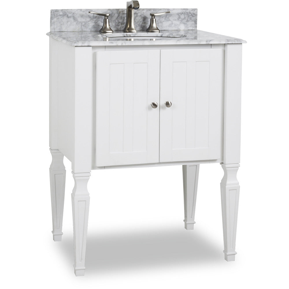 "Transitional Black Finish 28"" Vanity Base With White Marble Countertop - DecorativeResources.com"