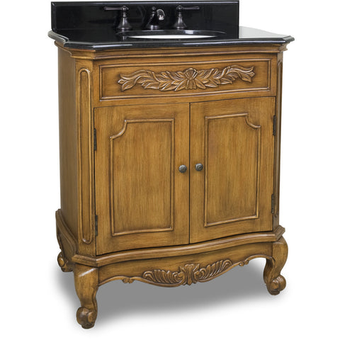 "Traditional Caramel Finish 30"" Vanity Base With Black Granite Countertop - DecorativeResources.com"