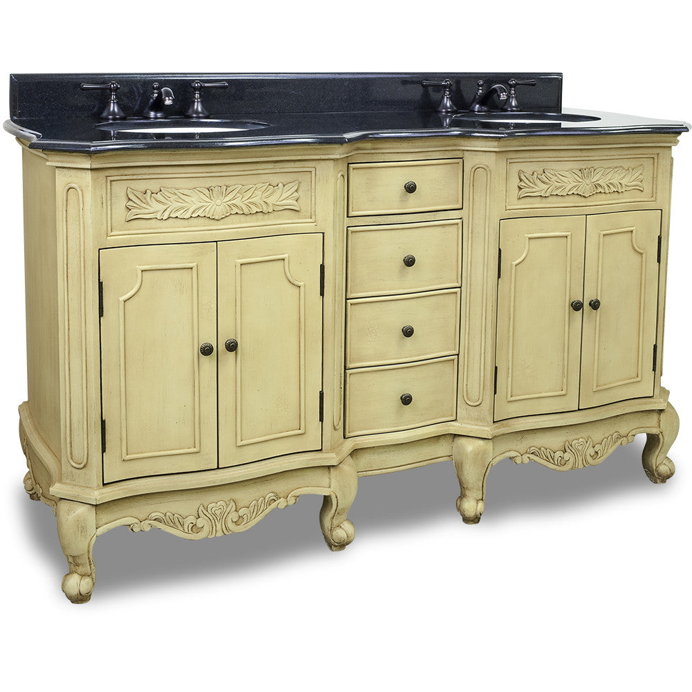 "Traditional Buttercream Finish 60"" Vanity Base With Black Granite Countertop - DecorativeResources.com"