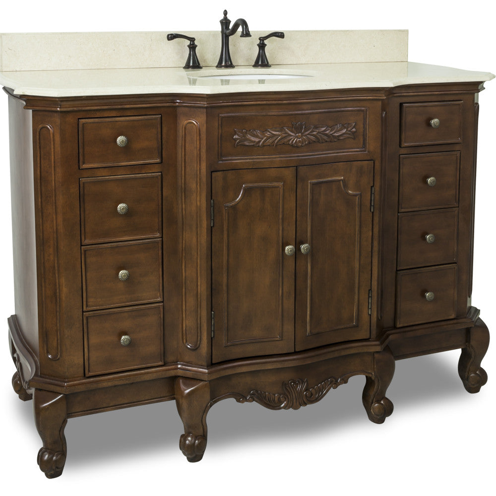 "Traditional Nutmeg Finish 50"" Vanity Base With Cream Marble Countertop - DecorativeResources.com"