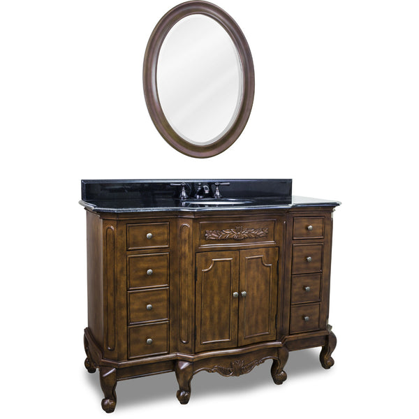 "Traditional Nutmeg Finish 50"" Vanity Base With Black Granite Countertop"