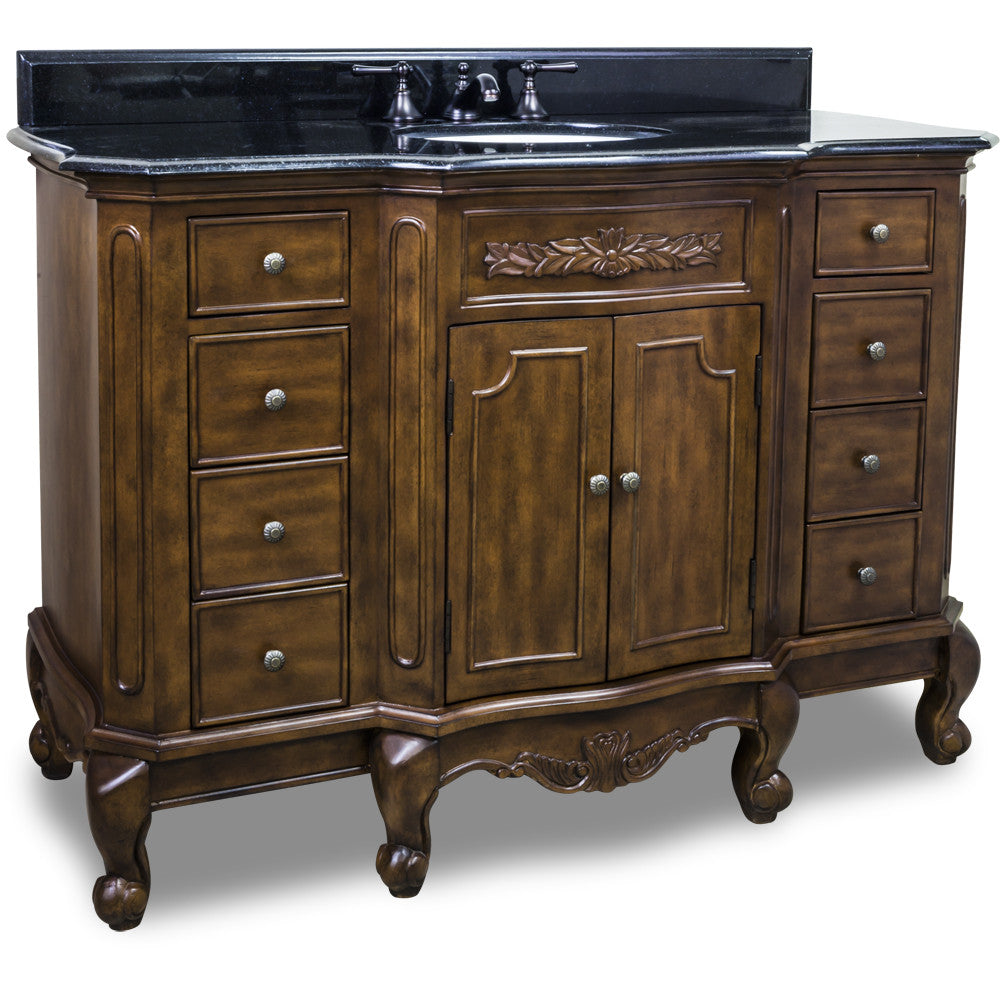 "Traditional Nutmeg Finish 50"" Vanity Base With Black Granite Countertop - DecorativeResources.com"