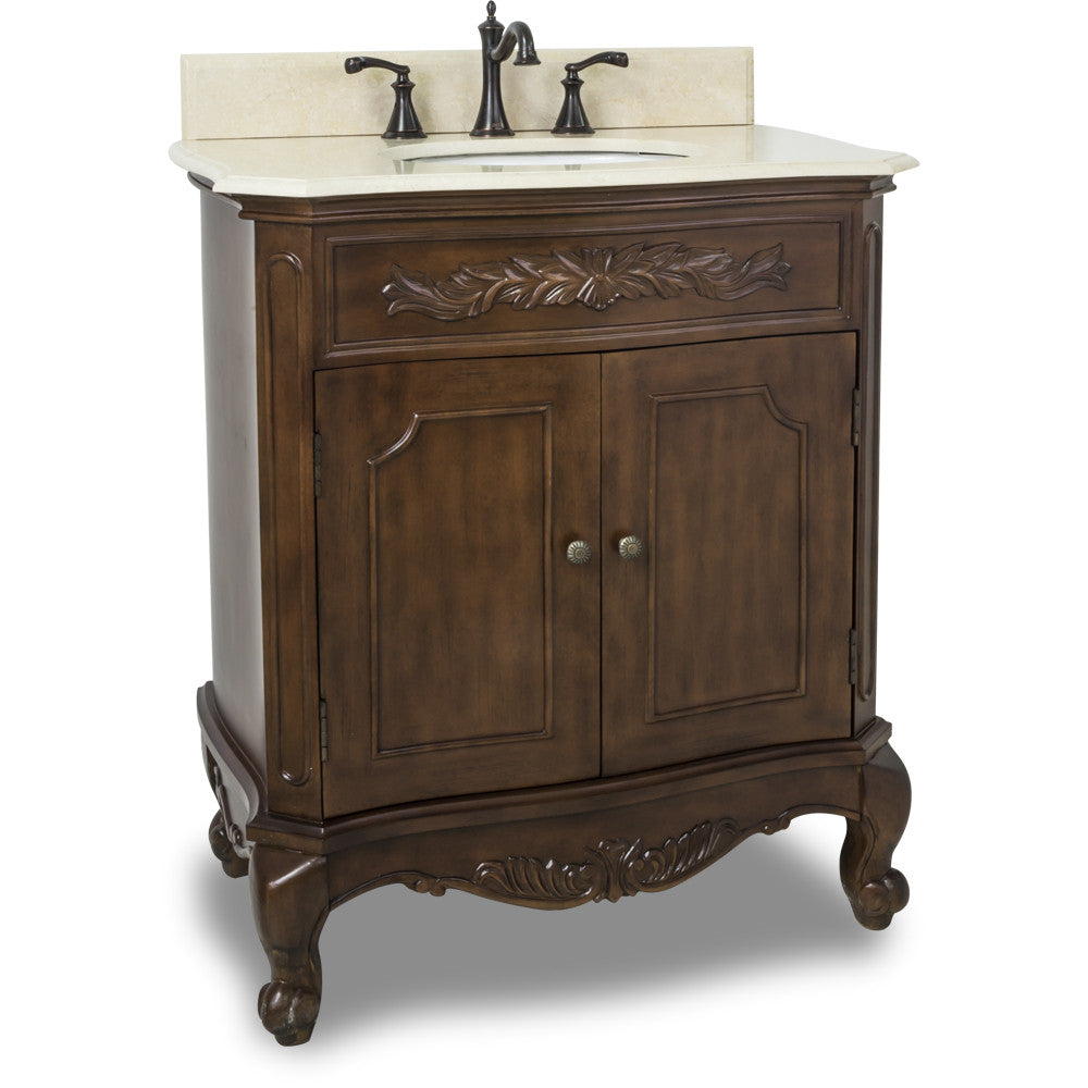"Traditional Nutmeg Finish 30"" Vanity Base With Cream Marble Countertop - DecorativeResources.com"
