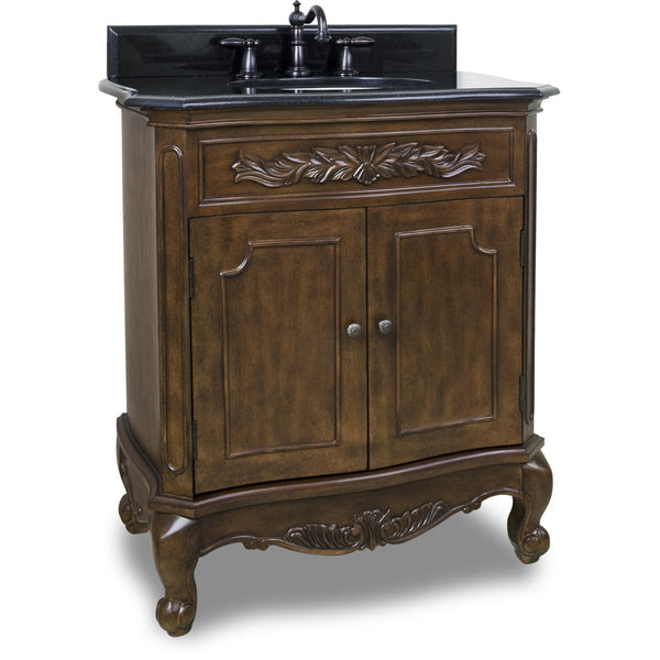 "Traditional Nutmeg Finish 30"" Vanity Base With Black Granite Countertop - DecorativeResources.com"