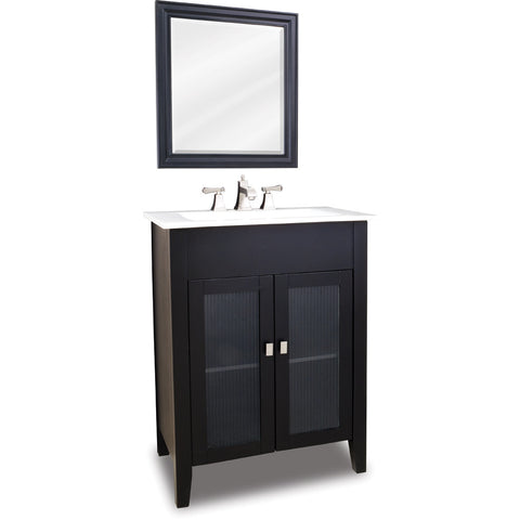 "Transitional Black Finish 30"" Vanity Base With White Porcelain Countertop"