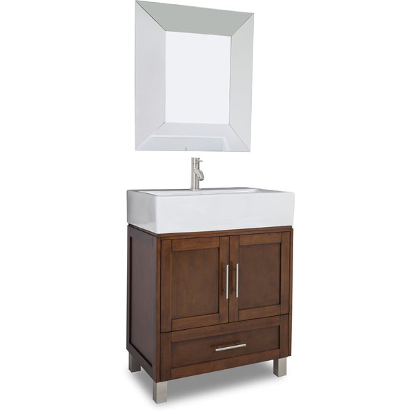 "Transitional Chocolate Finish 30"" Vanity Base With White Porcelain Countertop"
