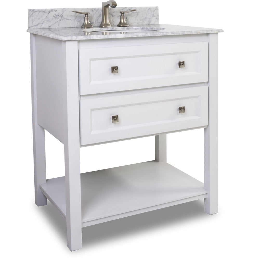 "Transitional White Finish 30"" Vanity Base With Carrera White Marble Countertop"