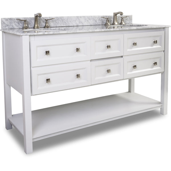 "Transitional White Finish 60"" Vanity Base With White Carrera Marble Countertop"