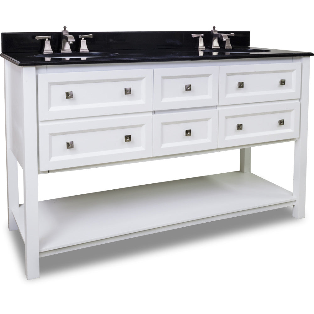 "Tranditional White Finish 60"" Vanity Base With Black Granite Countertop"