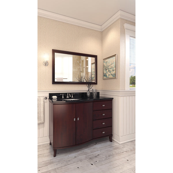 "Transitional 48"" Mahogany Finish Vanity Base Without Countertop"