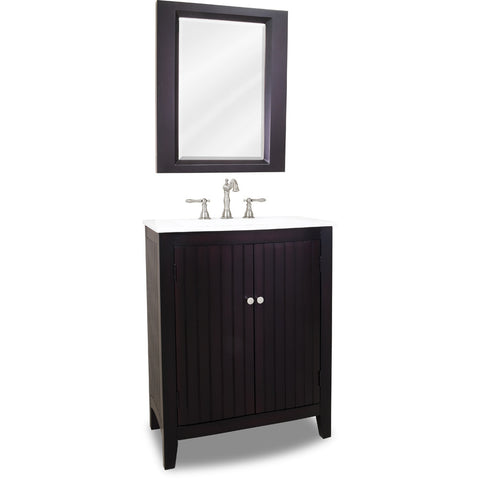 "Traditional Espresso Finish 28"" Vanity Base With White Porcelain Countertop"