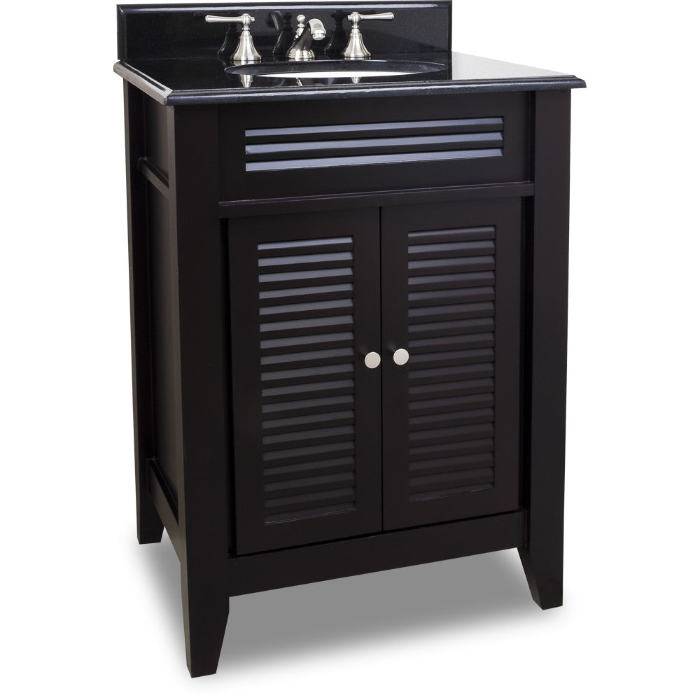 "Traditional Espresso Finish 26"" Vanity Base With Black Granite Countertop"