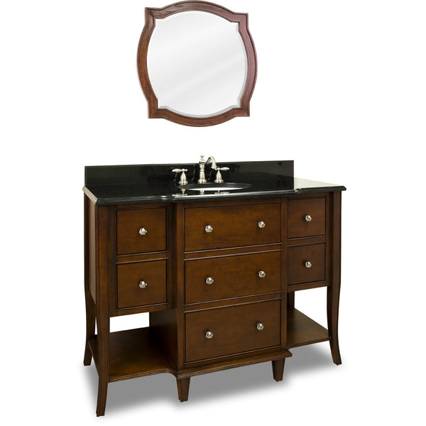 "Traditional Chocolate Finish 48"" Vanity Base With Black Granite Countertop"