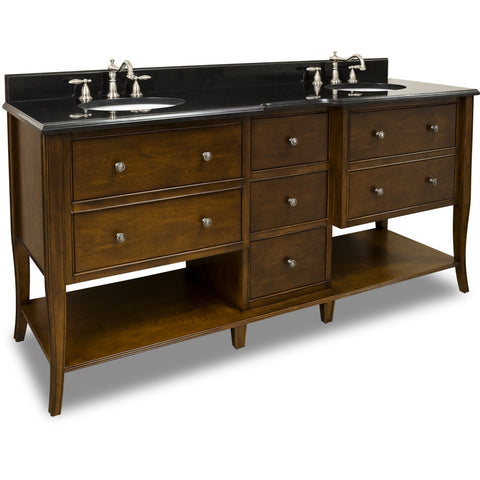 "Traditional Antique Finish 72"" Vanity Base With Black Granite Countertop"