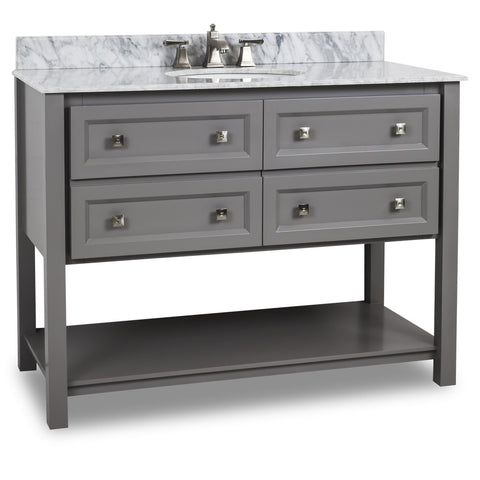 "Traditional Grey Finish 48"" Vanity Base With White Marble Countertop"