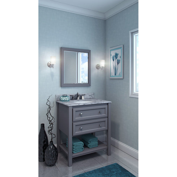 "Transitional 30"" Grey Finish  Vanity Base White Marble Countertop"