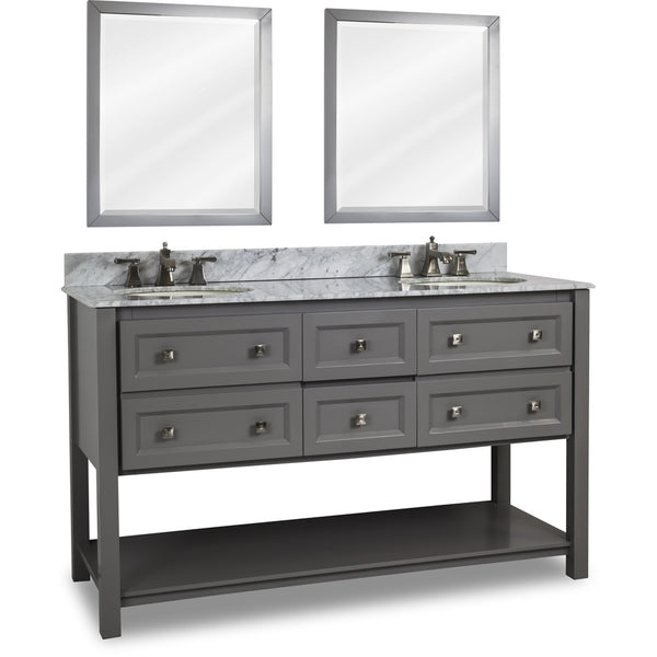 "Transitional Grey Finish 60"" Vanity Base With White Marble Countertop"