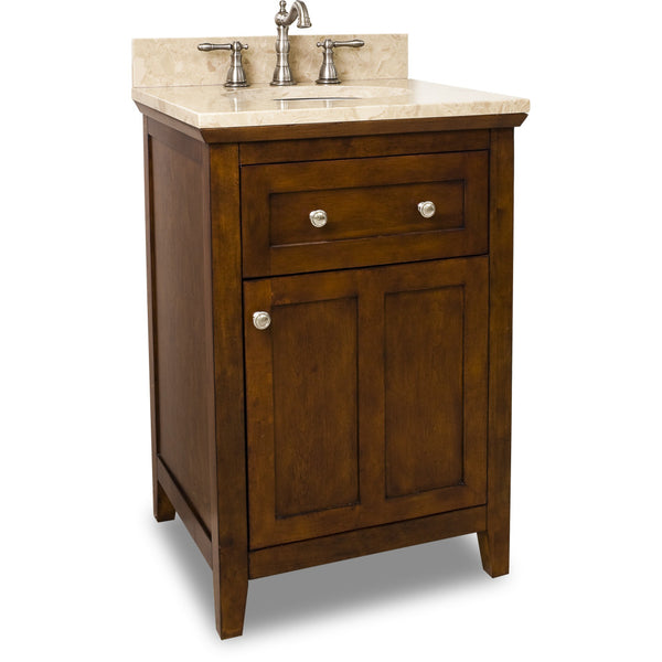 "Traditional Chocolate Finish 24"" Vanity Base With Emperador Light Marble Countertop"