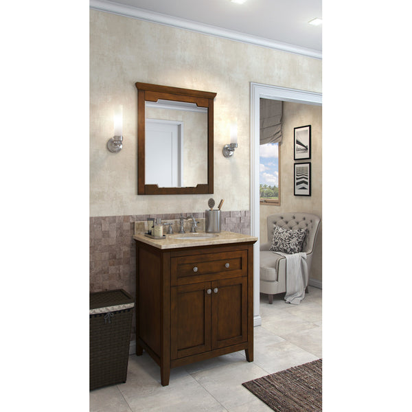 "Traditional Chocolate Finish 30"" Vanity Base With Emperador Light Marble Countertop"