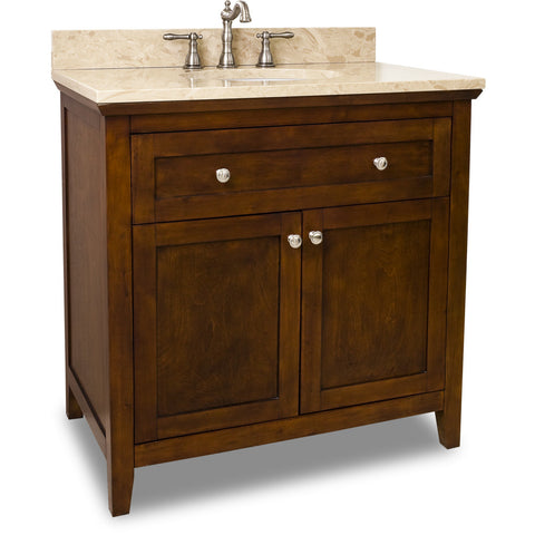 "Traditional Chocolate Finish 36"" Vanity Base With Emperador Light Marble Countertop"