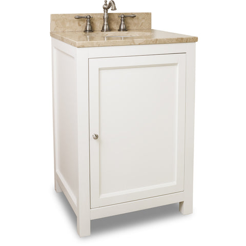 "Traditional Cream White Finish 24"" Vanity Base With Emperador Light Marble Countertop"