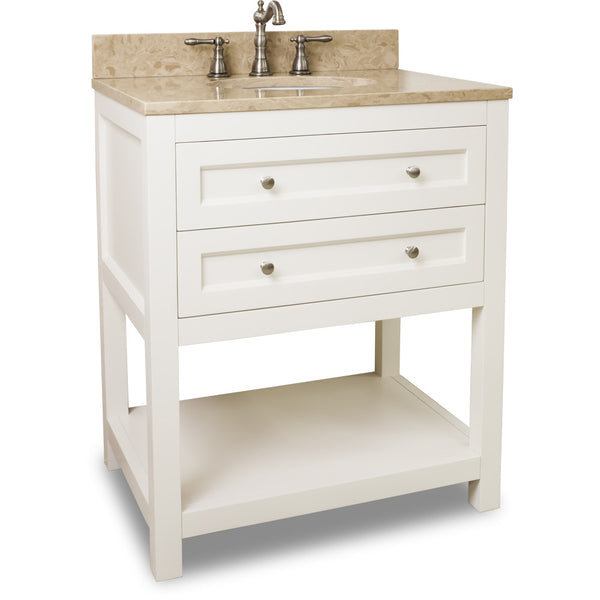 "Traditional Cream White Finish 30"" Vanity Base With Emperador Light Marble Countertop"