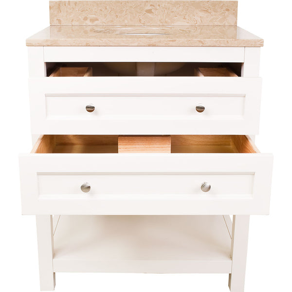 "Traditional Cream White Finish 29"" Vanity Base Without Countertop"