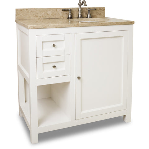 "Traditional Cream White Finish 36"" Vanity Base With Emperador Light Marble Countertop"