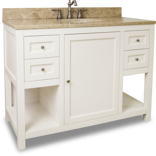 "Traditional Cream White Finish 48"" Vanity Base With Emperador Light Marble Countertop"
