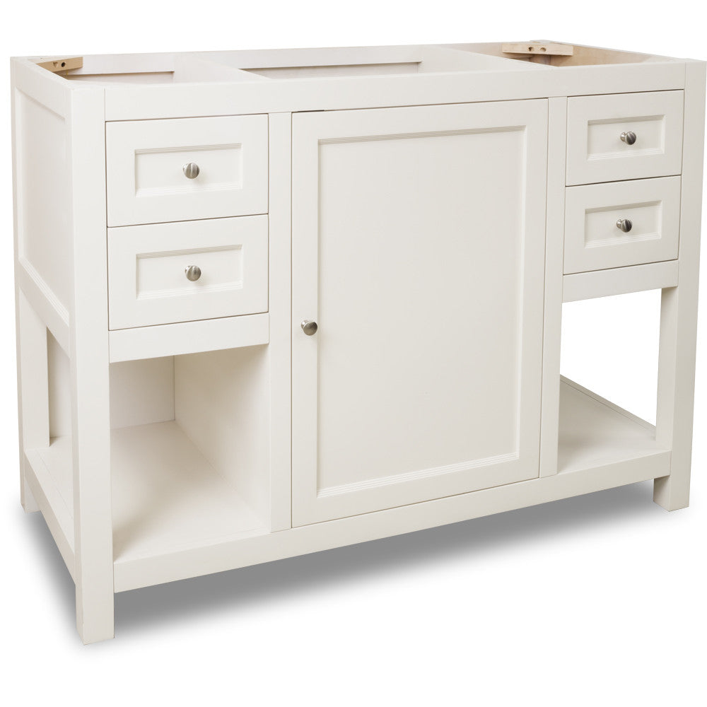 "Traditional Cream White Finish 48"" Vanity Base Without Countertop"