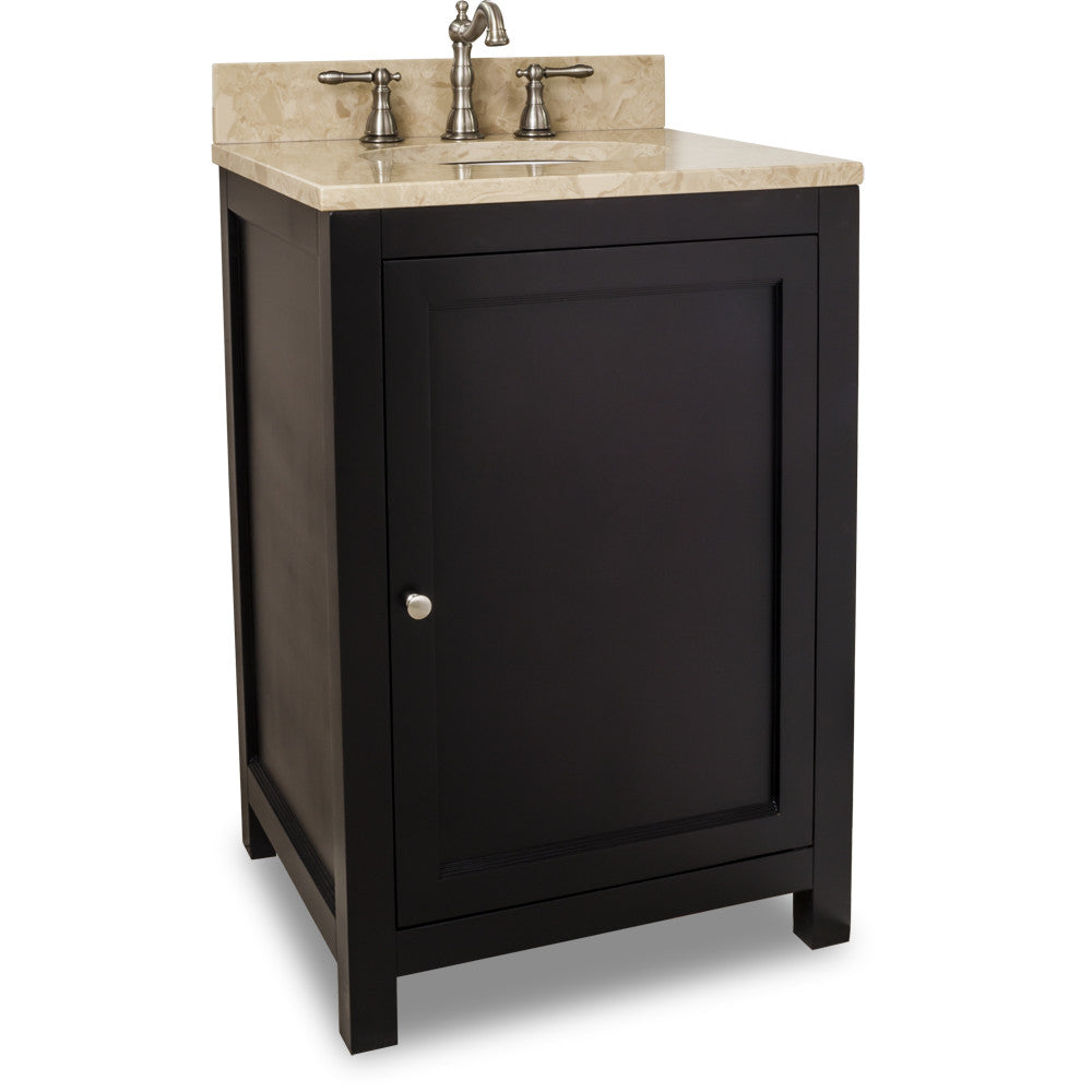 "Transitional Espresso Finish 24"" Vanity Base With Emperador Light Marble Top"