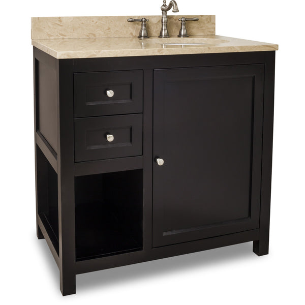 "Transitional 36"" Espresso Finish Vanity Base With Emperador Light Marble Top"