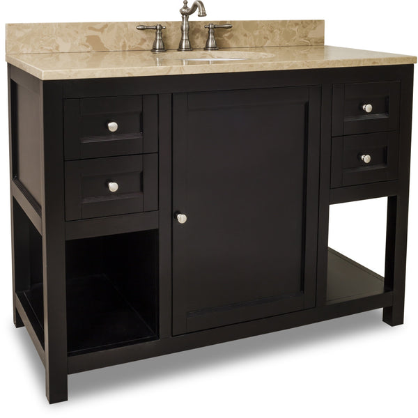 "Transitional 48"" Espresso Finish Vanity Base With Emperador Light Marble Top"