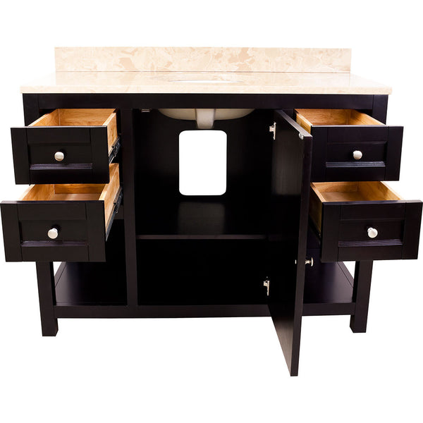 "Transitional 48"" Espresso Finish Vanity Base Without Countertop"