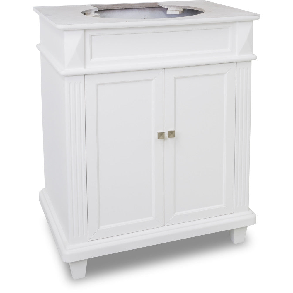 "Transitional 30"" White Finish Vanity Base Without Countertop"