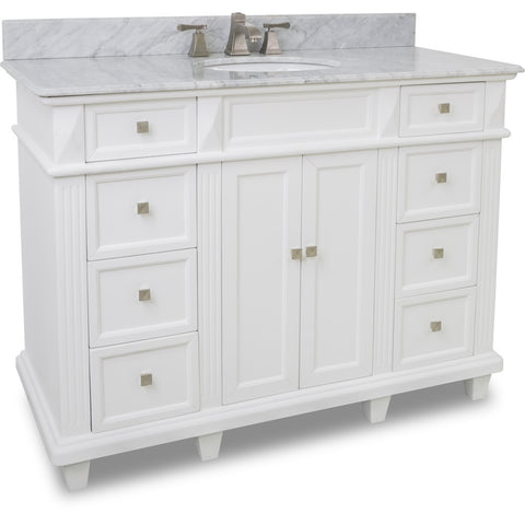 "Transitional 48"" White Finish Vanity Base With White Marble Top"