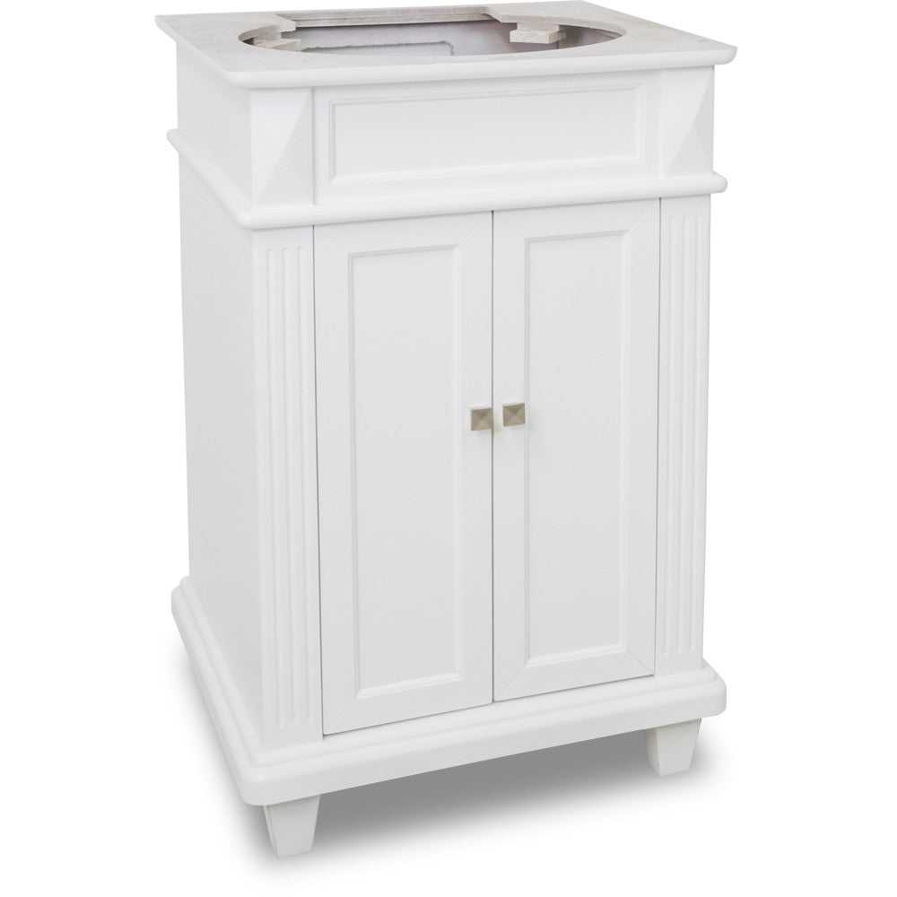 "Transitional 24"" White Finish Vanity Base Without Countertop"